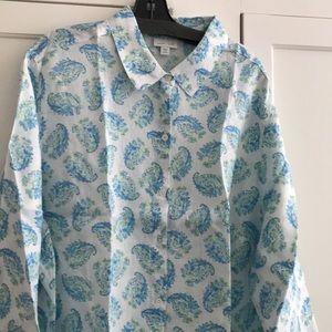 NWT J.jill long sleeve buttoned-down  linen shirt